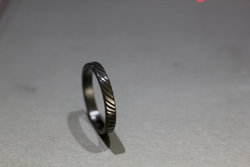 Zirkonium vingerafdruk ring / Smal 3 Mm  / 360c vingerafdruk