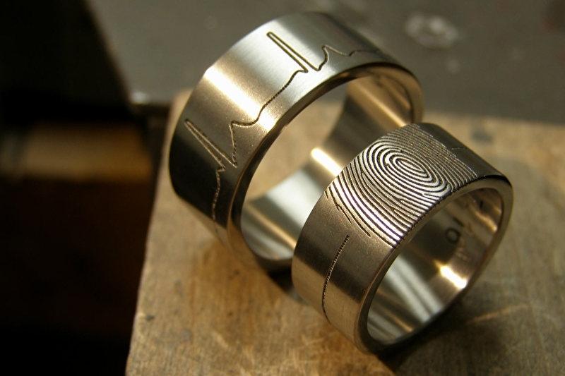 Titanium ECG / Vingerafdruk ring