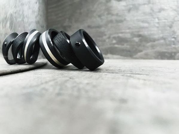 ARES - Rose Goud Mokume Gane - Black Diamond Ring - 8 mm breed