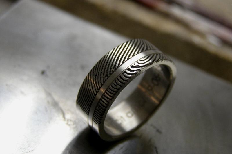 Titanium ring met band en 180c vingerafdruk ring