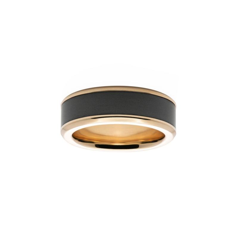 KRATOS - Black Diamond Ring - 18K geelgoud - 8 mm breed