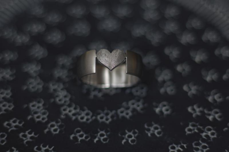 Vingerafdruk ring met open hart <3
