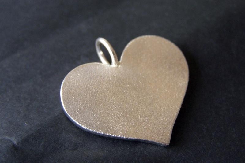 Zilveren vingerafdruk hanger in hart vorm