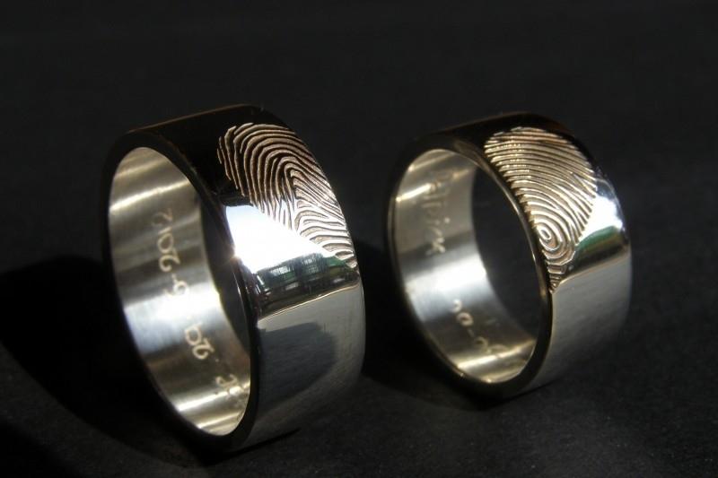 Zilveren vingerafdruk ringen hart vorm