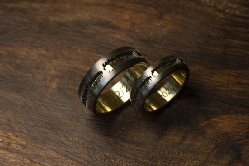 Soundwave ring / Geluidsgolf ringen goud