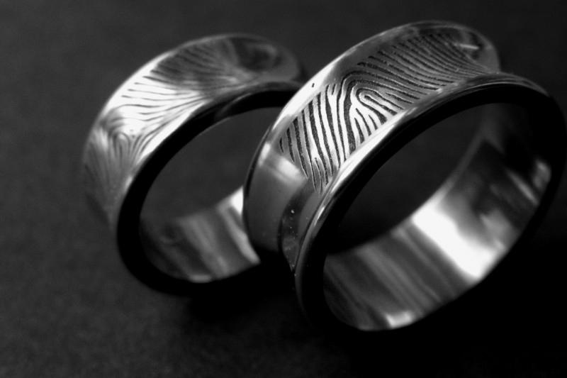 Titanium vingerafdruk ring Hollend