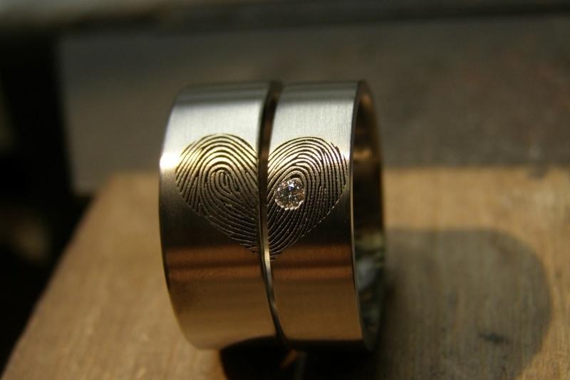 Vingerafdruk ringen met hart en diamant 2.1 mm