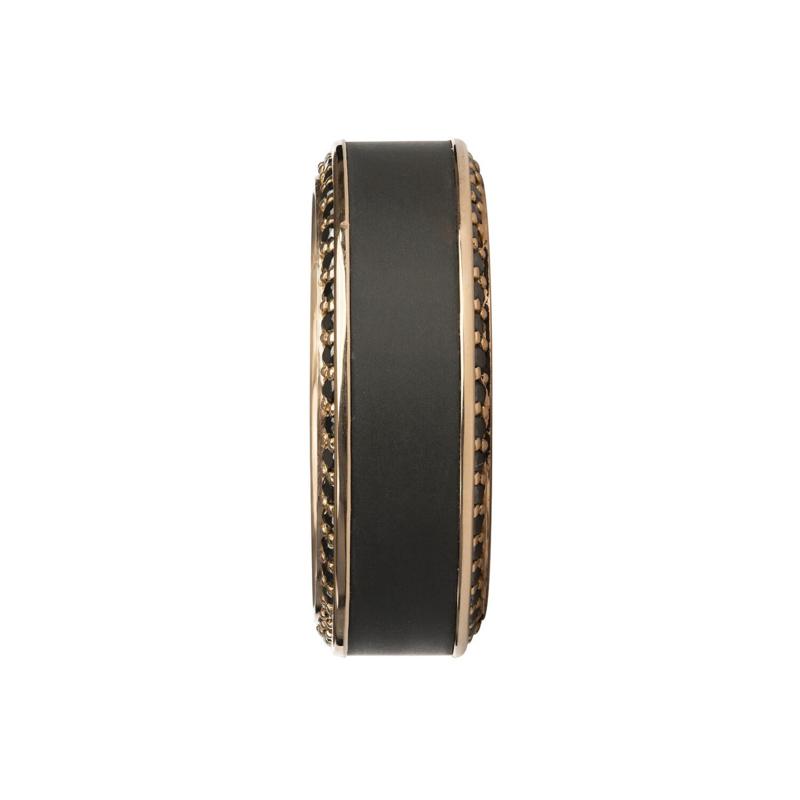 ZEUS - Black Diamond Ring - 18K Rose goud - 64 diamanten - 8 mm breed