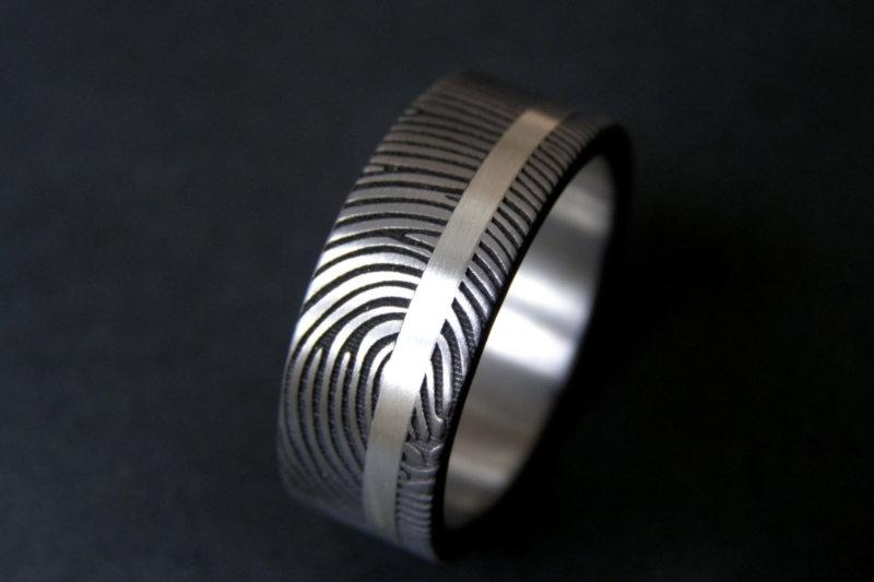 Titanium ring met zilveren band en 180c vingerafdruk