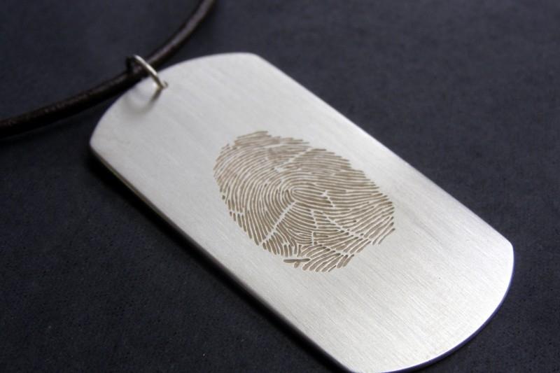 Zilveren vingerafdruk hanger (dogtag)