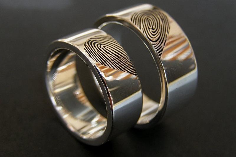 Zilveren vingerafdruk ringen