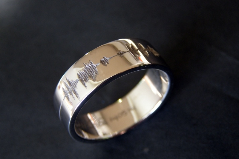 Soundwave / Geluidsgolf ring / Eternity loop / 14K witgoud.