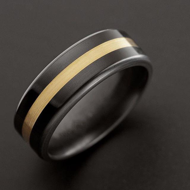 ARES - Witgouden Mokume Gane - Black Diamond Ring - 8 mm breed