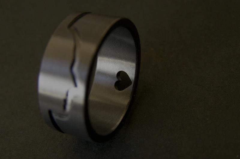 Zirkonium Profiel ring met hartje (<3)
