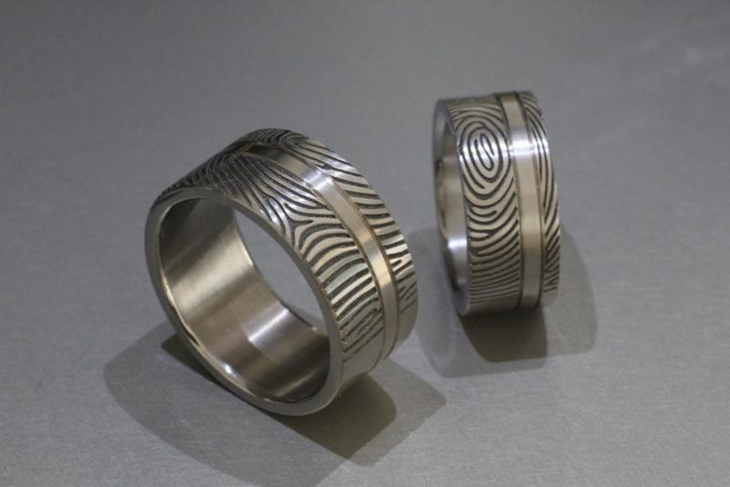 Titanium vingerafdruk ring 180C / Met onderbroken band
