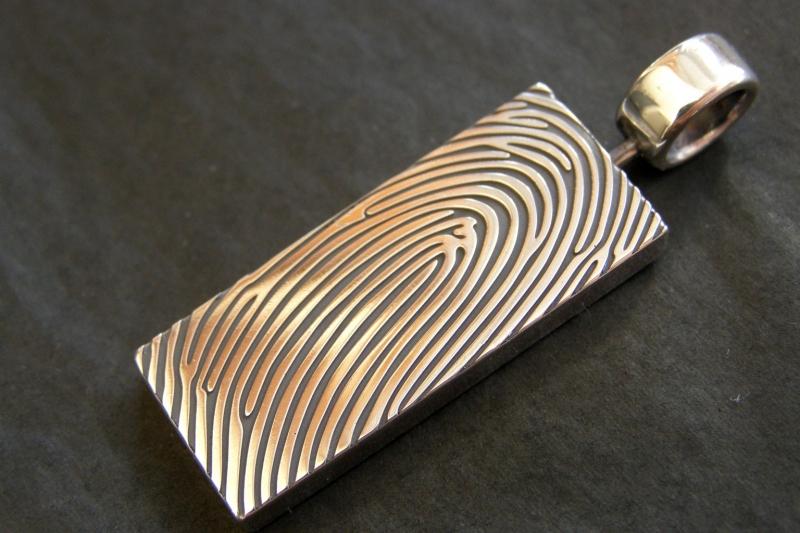 Zilveren vingerafdruk hanger 360c en draaibaar
