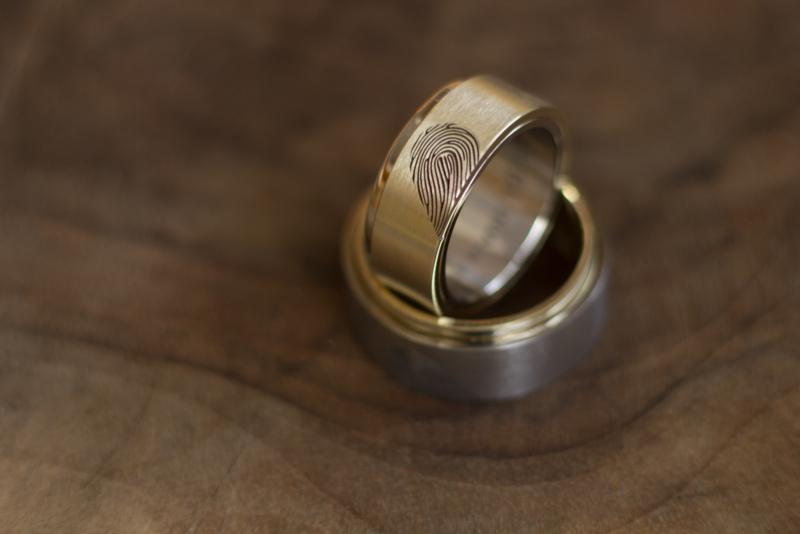Gouden vingerafdruk ringen Hart