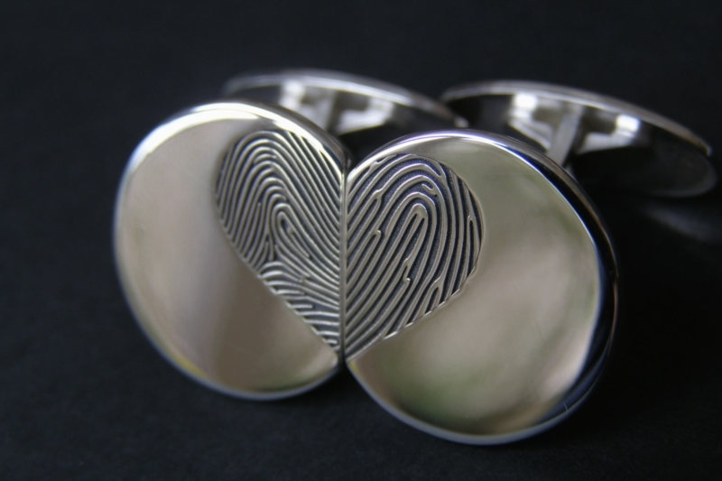 Zilveren Manchetknopen met vingerafdruk