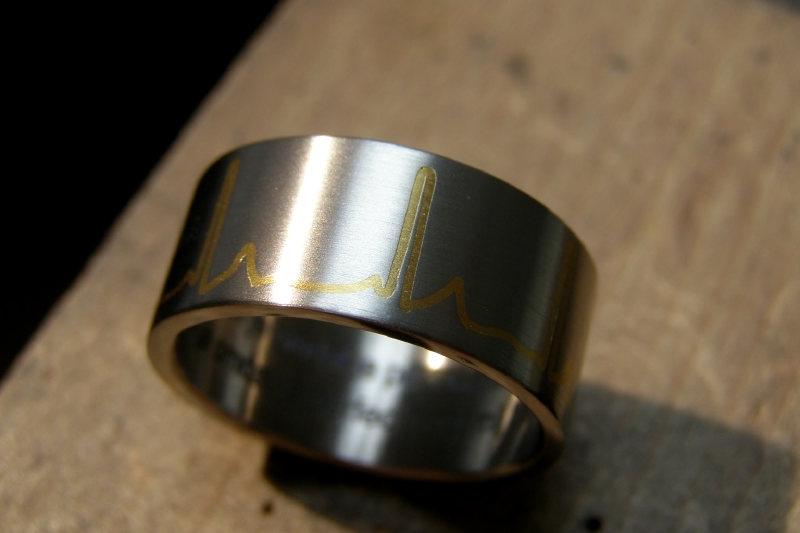 Titanium ring met ECG gevuld met 24K geelgoud