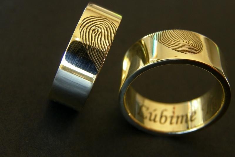 Gouden vingerafdruk ringen hart 14K