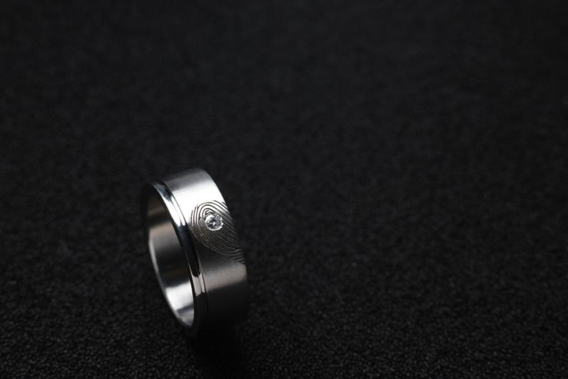 Vingerafdruk ringen met band.