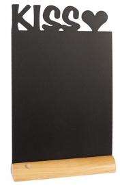 6x tafel-krijtbordje op Blank houten voet Kiss (FBT-KISS)