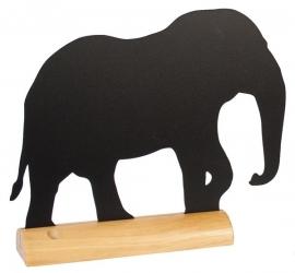 6x tafel-krijtbordje op Blank houten voet Olifant (FBT-ELEFANT