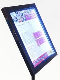 LED verlichte Menukaart Vitrine Zwart 4x A4 inclusief staander (MCS-4A4-BL-SET)