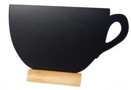 6x tafel-krijtbordje op Blank houten voet Kopje (FBT-CUP)