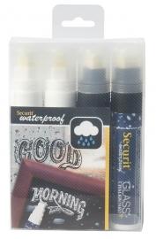 Dikke waterproof krijtstiften Wit en Blauw 4x (SMA820-V4-BW)