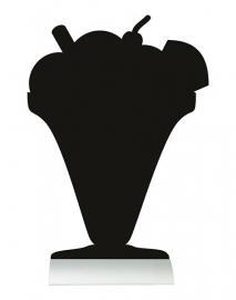 6x tafel-krijtbordje op aluminium voet IJs (FBTA-ICEC)