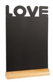 6x tafel-krijtbordje op Blank houten voet Love (FBT-LOVE)