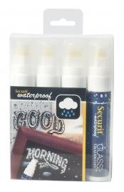 Dikke waterproof krijtstiften Wit 4x (SMA820-V4-WT)