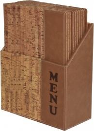 Luxe menukaarten box inclusief 10 menukaarten uit de Design serie, Cork (MC-BOX-DRA4-Cork)