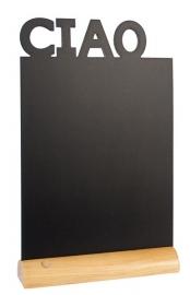 6x tafel-krijtbordje op Blank houten voet Ciao (FBT-CIAO)