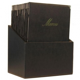 Luxe menukaarten box inclusief 20 menukaarten uit de Classic serie, Black (MC-BOX-CRA4-BL)
