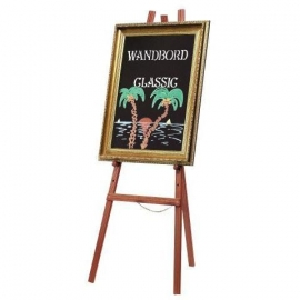 Mahonie houten schildersezel en goud krijtbord 85x65 cm (EZL-M-60 & WBC-G-85)
