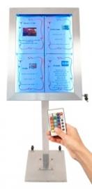 Menukast met gekleurde LED verlichting 4x A4 incl. staander (MCS-4A4-LSS + MCS-BA-120-G1+G2)