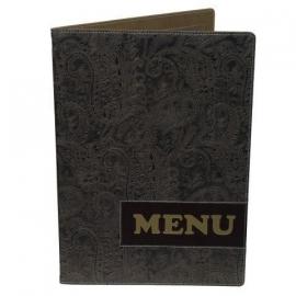 Bruine barok menukaart A4, Paisley Design (MC-DRA4-PAISLEY)