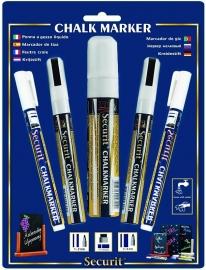 Set van 5 witte krijtstiften in verschillende diktes (BL-SMAMIX-V5-WT)