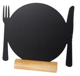 6x tafel-krijtbordje op Blank houten voet Bord (FBT-PLATE)