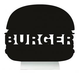 6x tafel-krijtbordje aluminium voet Hamburger (FBTA-BURGER)