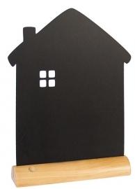 6x tafel-krijtbordje op Blank houten voet Huis (FBT-HOUSE)