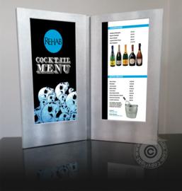 Zilveren LED verlichte menukaart 2x A4 Lang formaat (MC-LD45-SL)