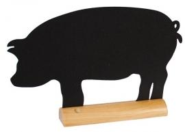 6x tafel-krijtbordje op Blank houten voet Varken (FBT-PIG)