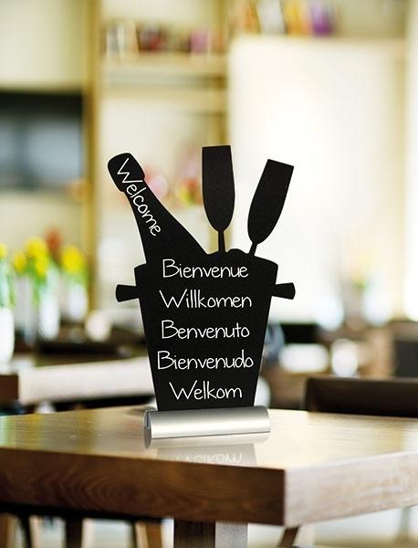 6x tafel-krijtbordje op aluminium voet Champagne (FBTA-CHAMPAIGN)