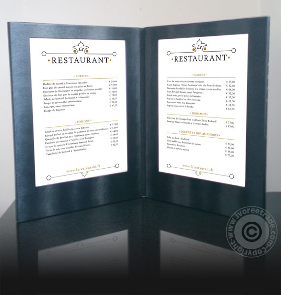 Zwarte LED verlichte menukaart 2x A4 (MC-LDSP-BL)