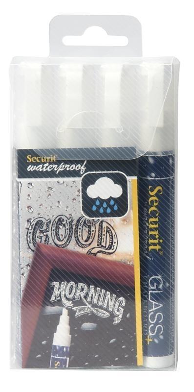 Dunne waterproof krijtstiften Wit 4x (SMA610-V4-WT)