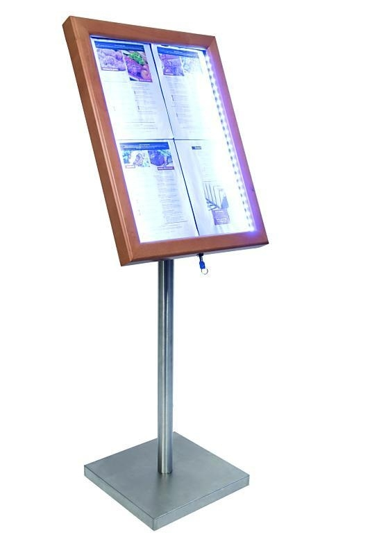 Classic Menukast Teak hout met witte LED verlichting 4x A4 (MCS-4A4-WLTE)