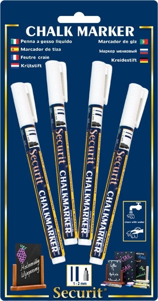 Set van 4 krijtstiften 1-2mm in de kleur wit (SMA100-V4-WT)